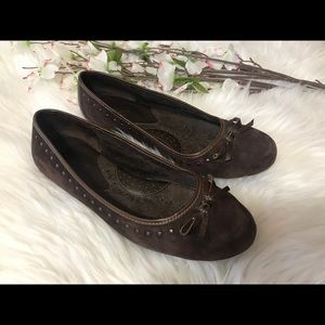 Born Concept Brown Suede Ballet Studded Flats
